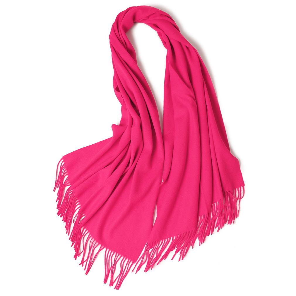 Теплый классический шерстяной палантин розовый