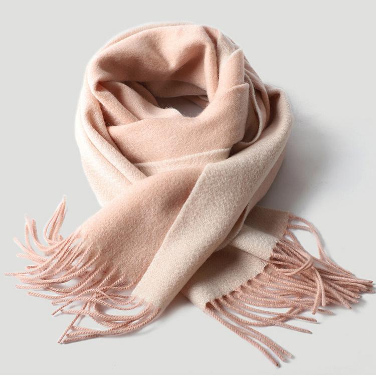 Двусторонний кашемировый шарф персиковый