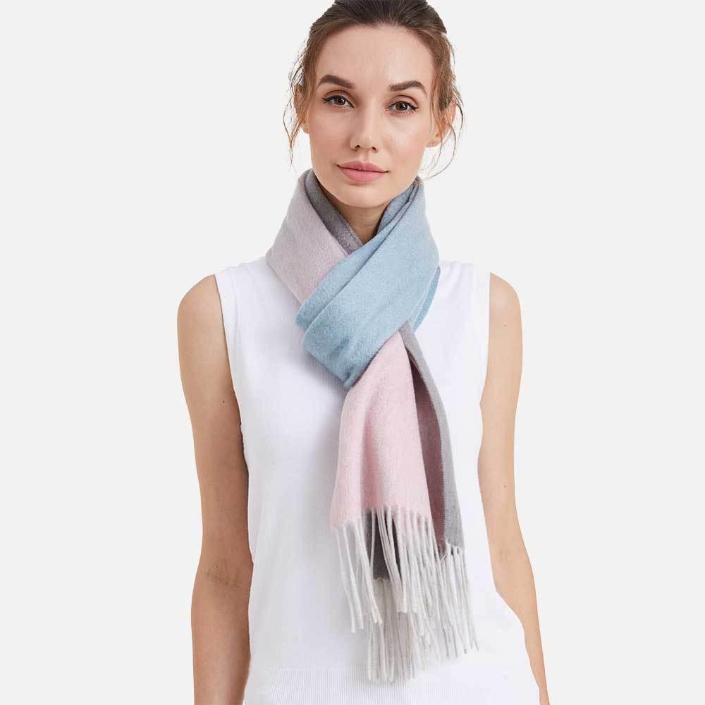 Шарф CASHMERE GRAND GRADIENT серый/розовый/голубой